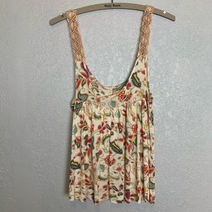 Free People Boho style tank with braided straps